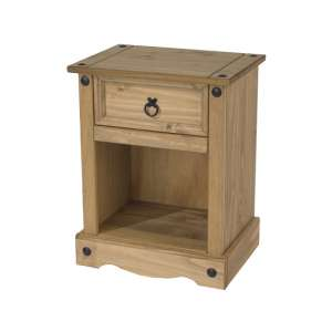 Corina Bedside Cabinet In Antique Wax Finish With One Drawer