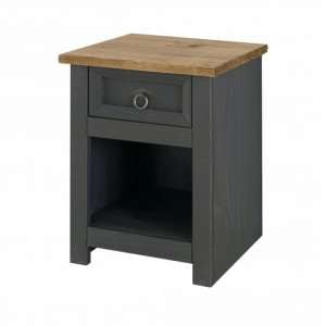 Corina Bedside Cabinet In Carbon Grey Finish With One Drawer