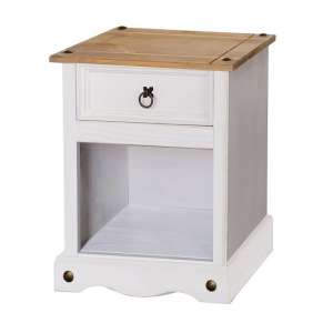 Corina Bedside Cabinet In White Washed Wax With One Drawer