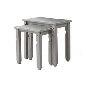 Corina Compact Glass Top Set Of 2 Nesting Tables In Grey