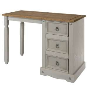 Corina Dressing Table In Grey Washed Wax Finish