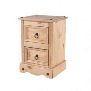 Corina Bedside Cabinet In Antique Wax Finish With Two Drawer