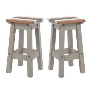 Corina Vintage Wooden Kitchen Stools In Grey Wax In A Pair