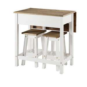 Corina White Drop Leaf Dining Set With 2 Stools