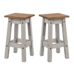 Corina Wooden Kitchen Stools In Grey Washed Wax In A Pair