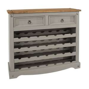 Corina Wooden Wine Rack In Grey Washed Wax With Two Drawers