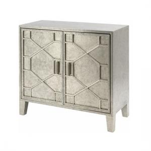 Corina Hand Embossed Metal Storage Cabinet In Silver With 2 Door
