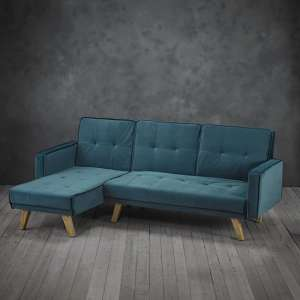 Cornis Corner Sofa Bed In Teal Fabric With Wooden Legs