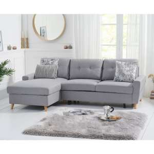 Correen Linen Left Hand Facing Chaise Sofa Bed In Grey