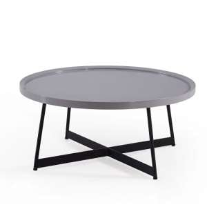 Corrick Circular Coffee Table In Grey High Gloss And Metal Legs