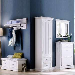 Corrin Wooden Hallway Furniture Set 3 In White