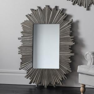 Corsley Starburst Wall Mirror Rectangular In Grey Weathered