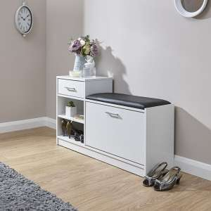 Cortes Shoe Bench In White With One Drawer And Open Shelf