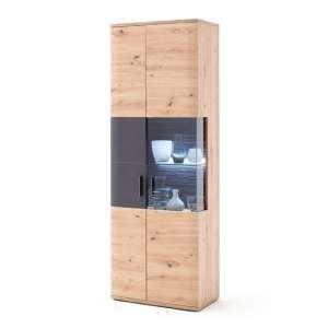 Cortona LED Wooden Display Cabinet In Planked Oak With 2 Doors