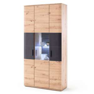 Cortona Wooden Display Cabinet In Planked Oak With 3 Doors