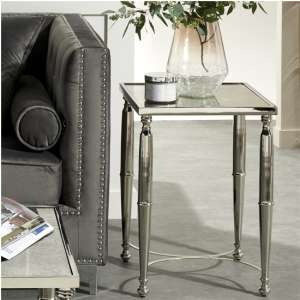 Corum Square Glass Side Table In Nickel