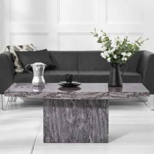 Coruna Marble Coffee Table In Grey High Gloss
