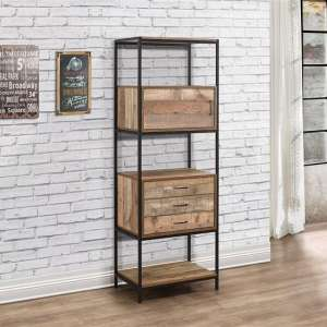 Coruna Wooden Shelving Unit In Rustic And Metal Frame
