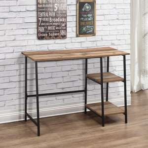 Coruna Wooden Computer Desk In Rustic And Metal Frame
