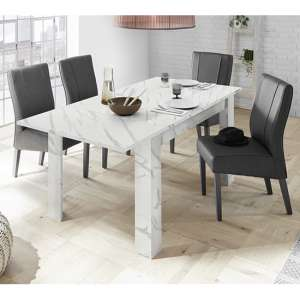 Corvi Extending White Marble Effect Dining Table With 6 Chairs