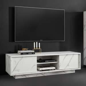 Corvi TV Stand In White Marble Effect With 2 Doors And 1 Shelf