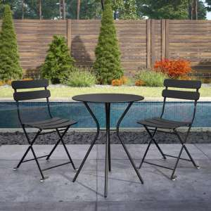 Cosco Outdoor Metal Bistro Set With Round Table In Black