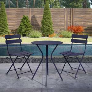 Cosco Outdoor Metal Bistro Set With Round Table In Navy