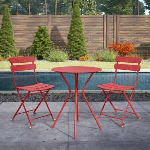 Cosco Outdoor Metal Bistro Set With Round Table In Red