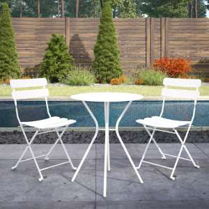 Cosco Outdoor Metal Bistro Set With Round Table In White
