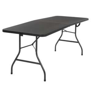 Cosco Small Fold-In-Half Molded Resin Top Dining Table In Black