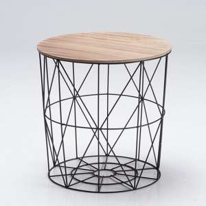 Cosmo Black Cage Coffee Table With Oak Finish Top