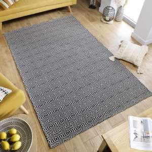 Cotone Pappel Black And Cream Finish Rug