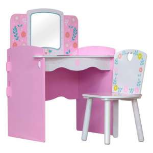 Country Cottage Kids Dressing Table In Pink And White With Chair