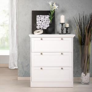 Country Chest Of Drawers In White With 3 Drawers
