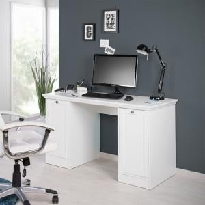Country Modern Computer Desk In White With 2 Doors