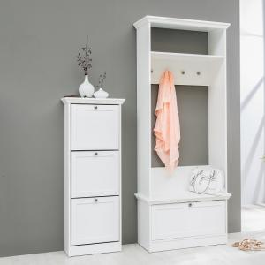 Country Wooden Shoe Cabinet In White With 3 Flap Doors_4