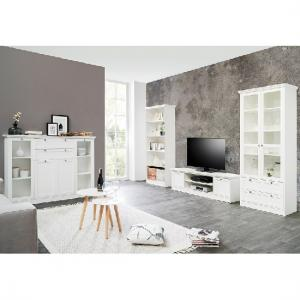 Country Wooden TV Stand In White With 2 Doors_5