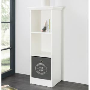 Country Short Narrow Bookcase In White With 2 Shelf