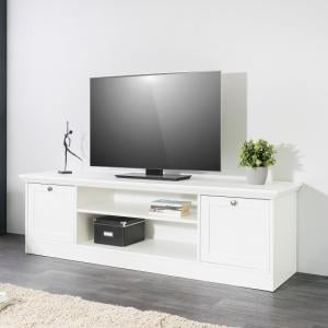 Country Wooden TV Stand In White With 2 Doors