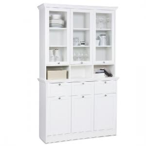 Country Buffet Glass Display Cabinet In White With 6 Doors