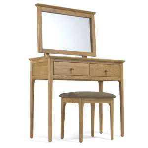 Courbet Wooden 3Pc Dressing Table Set In Light Solid Oak