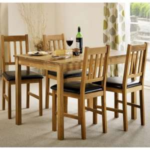 Coxmoor Wooden Dining Table In Oiled Oak With Four Chairs