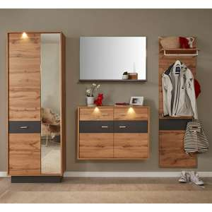 Coyco LED Hallway Furniture Set 1 In Wotan Oak And Grey