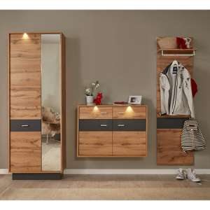 Coyco LED Hallway Furniture Set 11 In Wotan Oak And Grey