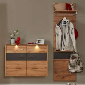 Coyco LED Hallway Furniture Set 12 In Wotan Oak And Grey