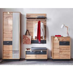 Coyco LED Hallway Furniture Set 13 In Wotan Oak And Grey