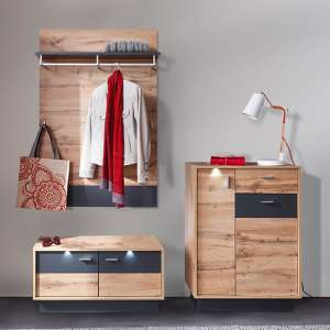 Coyco LED Hallway Furniture Set 14 In Wotan Oak And Grey