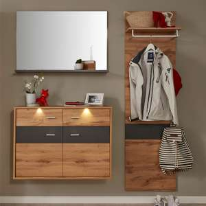 Coyco LED Hallway Furniture Set 2 In Wotan Oak And Grey