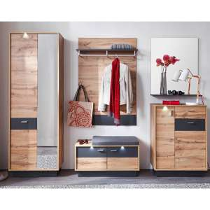 Coyco LED Hallway Furniture Set 3 In Wotan Oak And Grey