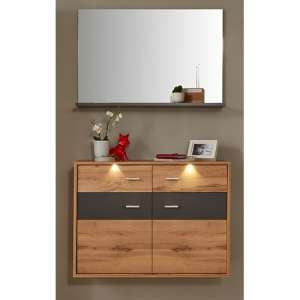 Coyco LED Hallway Furniture Set 7 In Wotan Oak And Grey